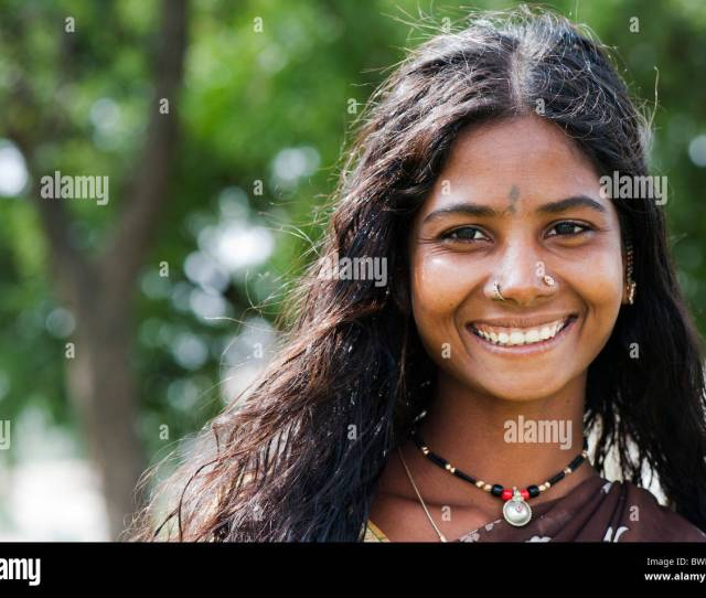 Smiling South Indian Teenage Girl Portrait Andhra Pradesh India