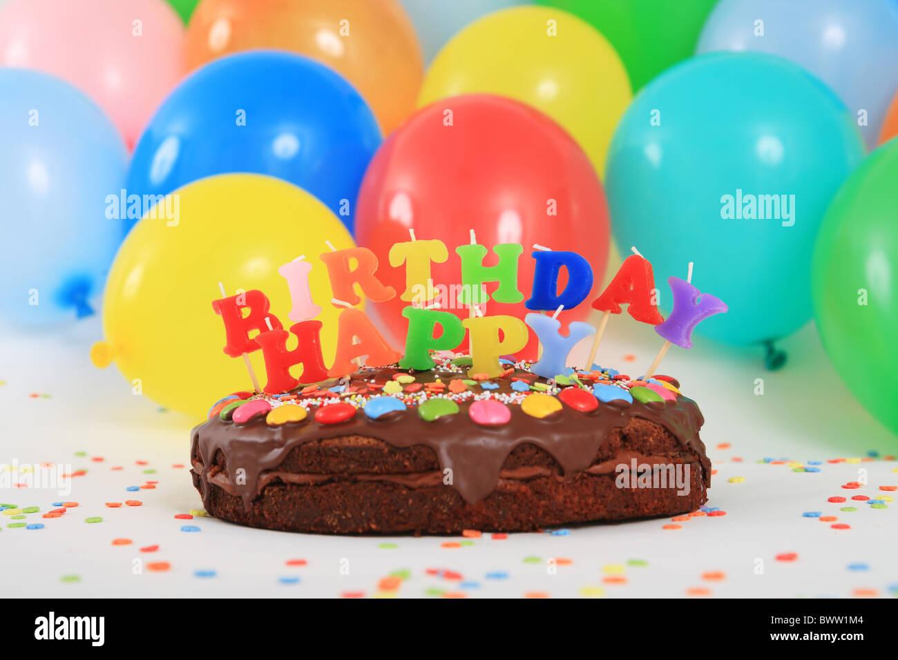 Birthday Cakes Happy Birthday Cake Candles Balloons Party Decoration Adornment Studio Celebration Colorful C Stock Photo Alamy