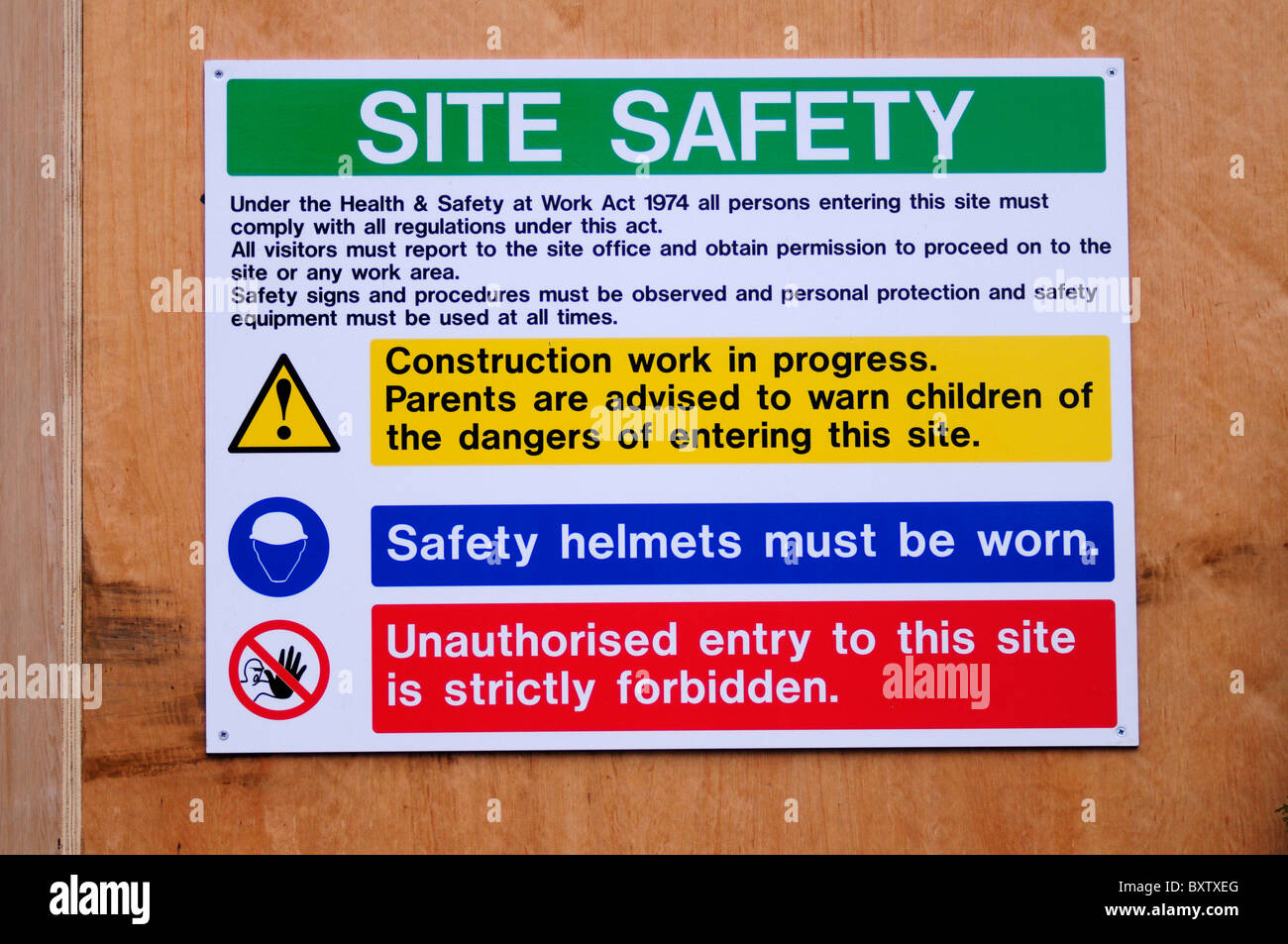Health And Safety Signs Construction Stock Photos Amp Health