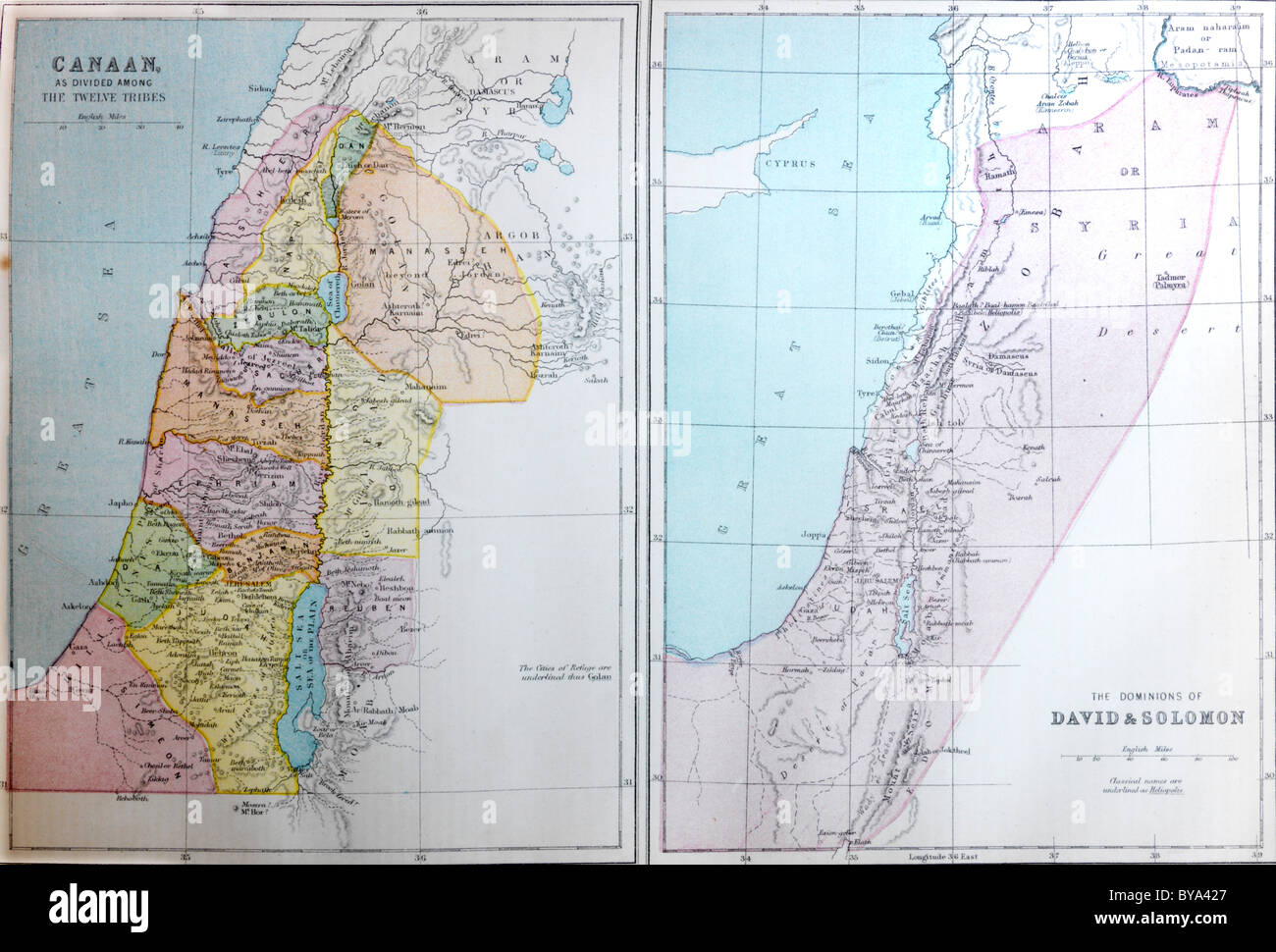 Two Maps In A Bible One On The Canaan As Dividing Among The Twelve     Two Maps In A Bible One On The Canaan As Dividing Among The Twelve Apostles  The Other On The Dominions Of David And Soloman