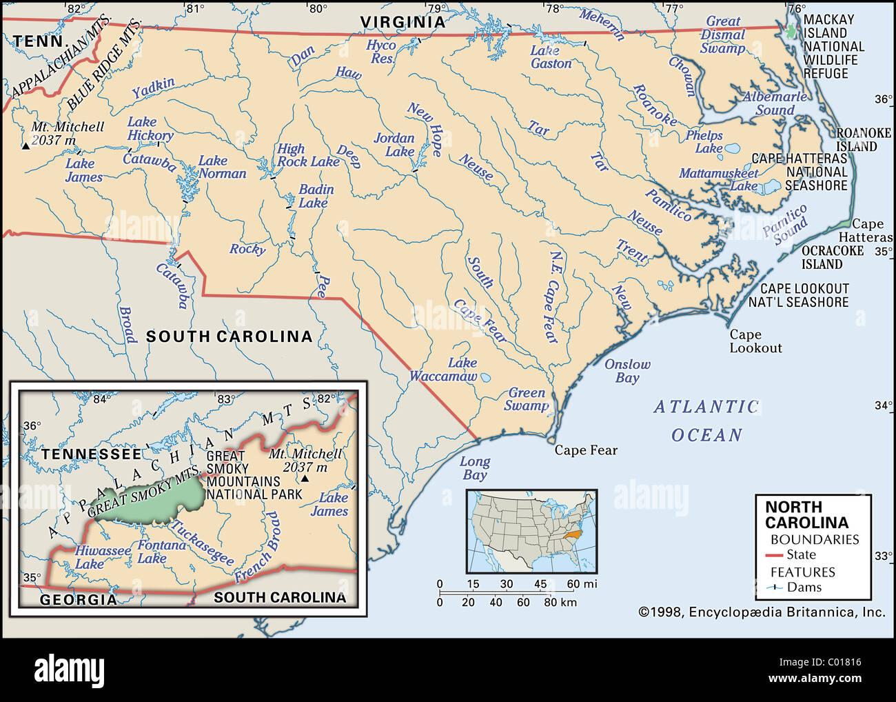 Physical Map Of North Carolina Stock Photo Royalty Free