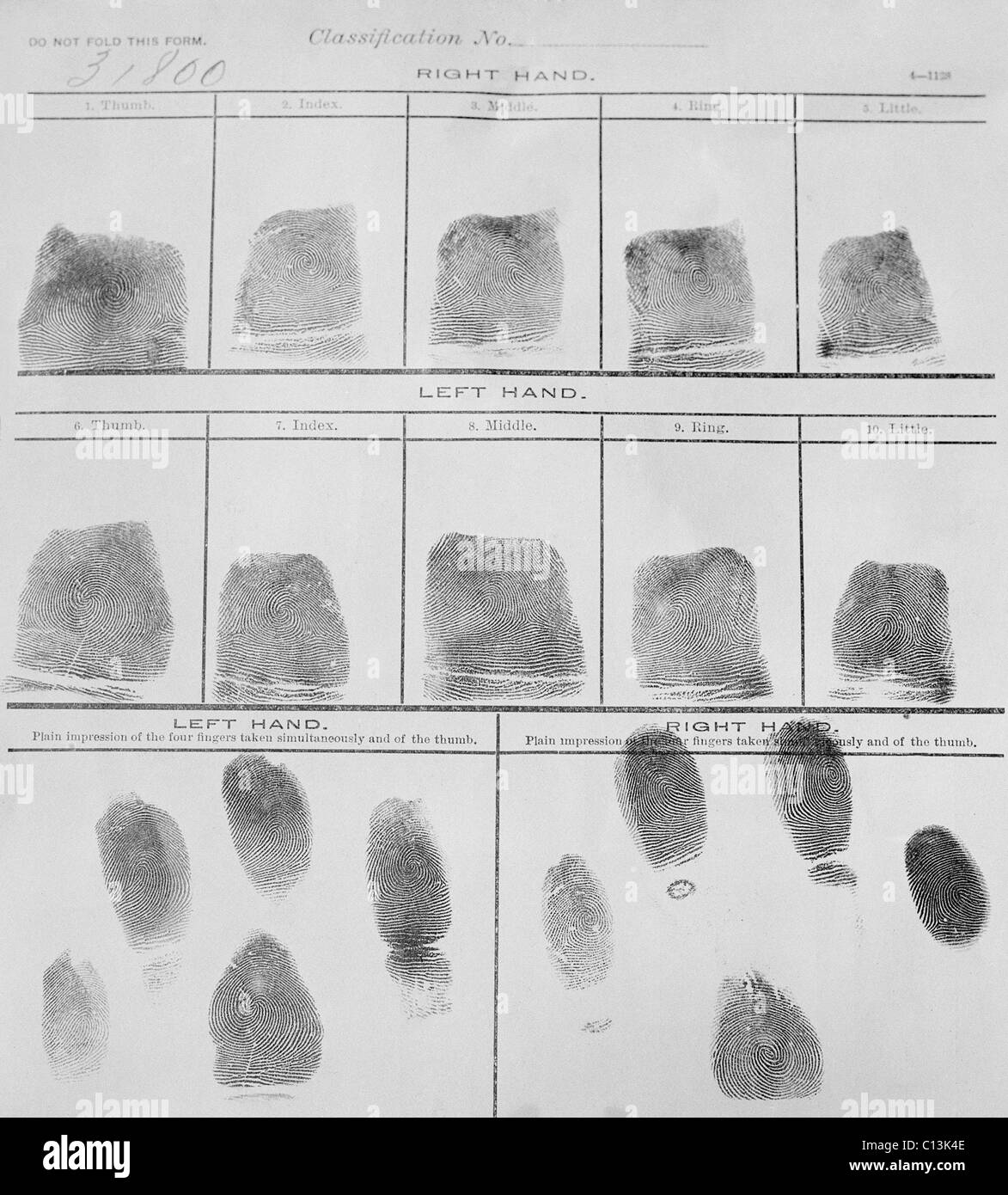 Fingerprint Record Sheet From The Navy Department In