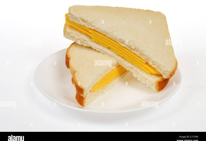 Cheese Sandwich With 2 Slices Of Cheese On White Bread Cut In Half