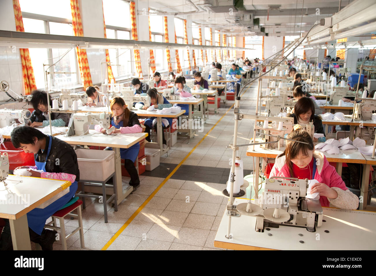 China Garment Factory Worker Production Stock Photo