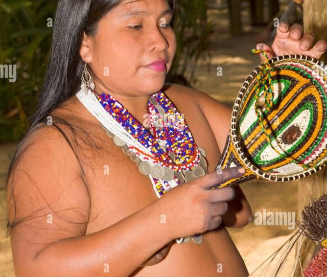 Woman Of The Native Indian Embera Tribe Embera Village Panama