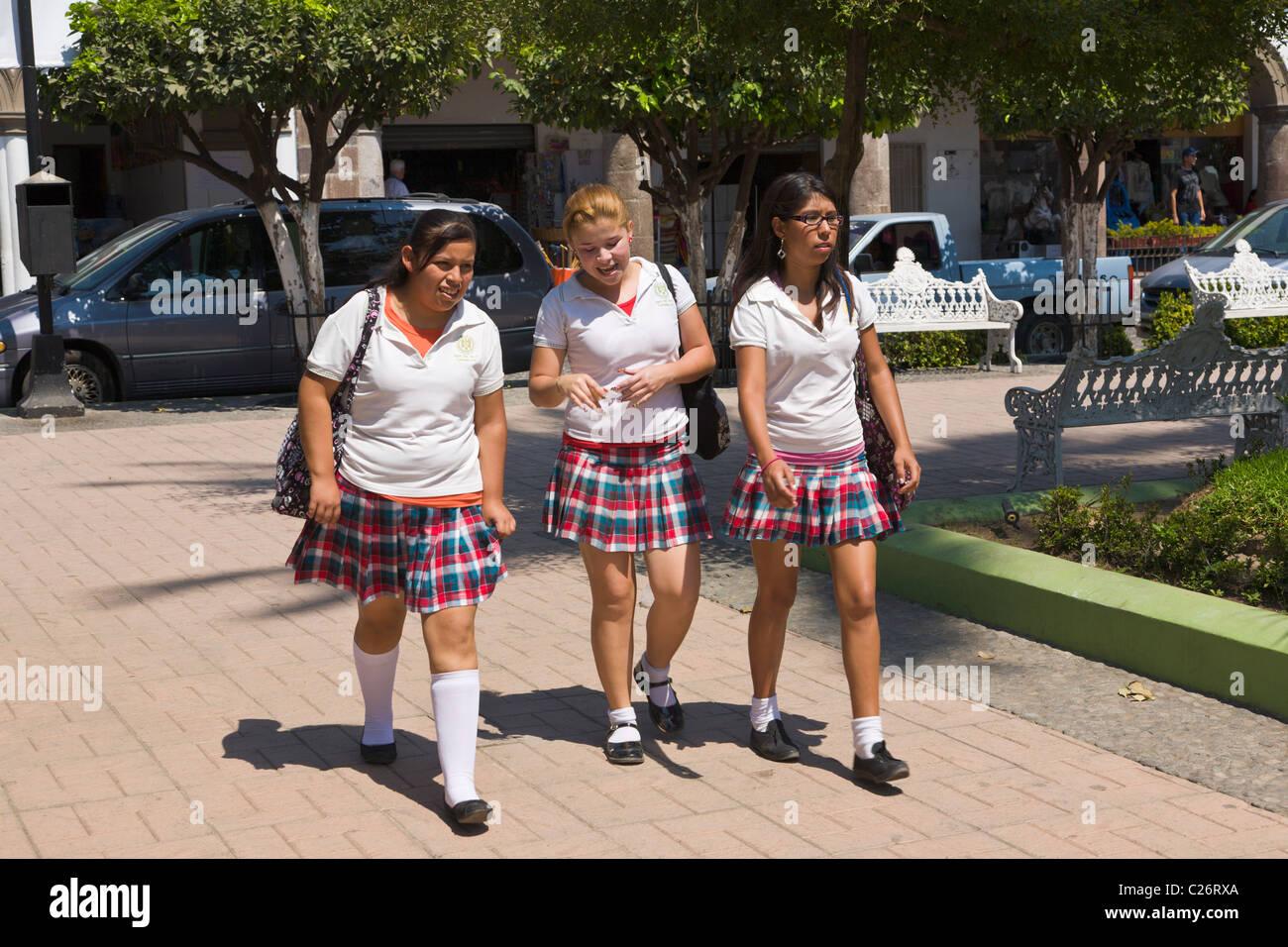 Schoolgirls In Uniform Comala Colima Mexico Stock Photo