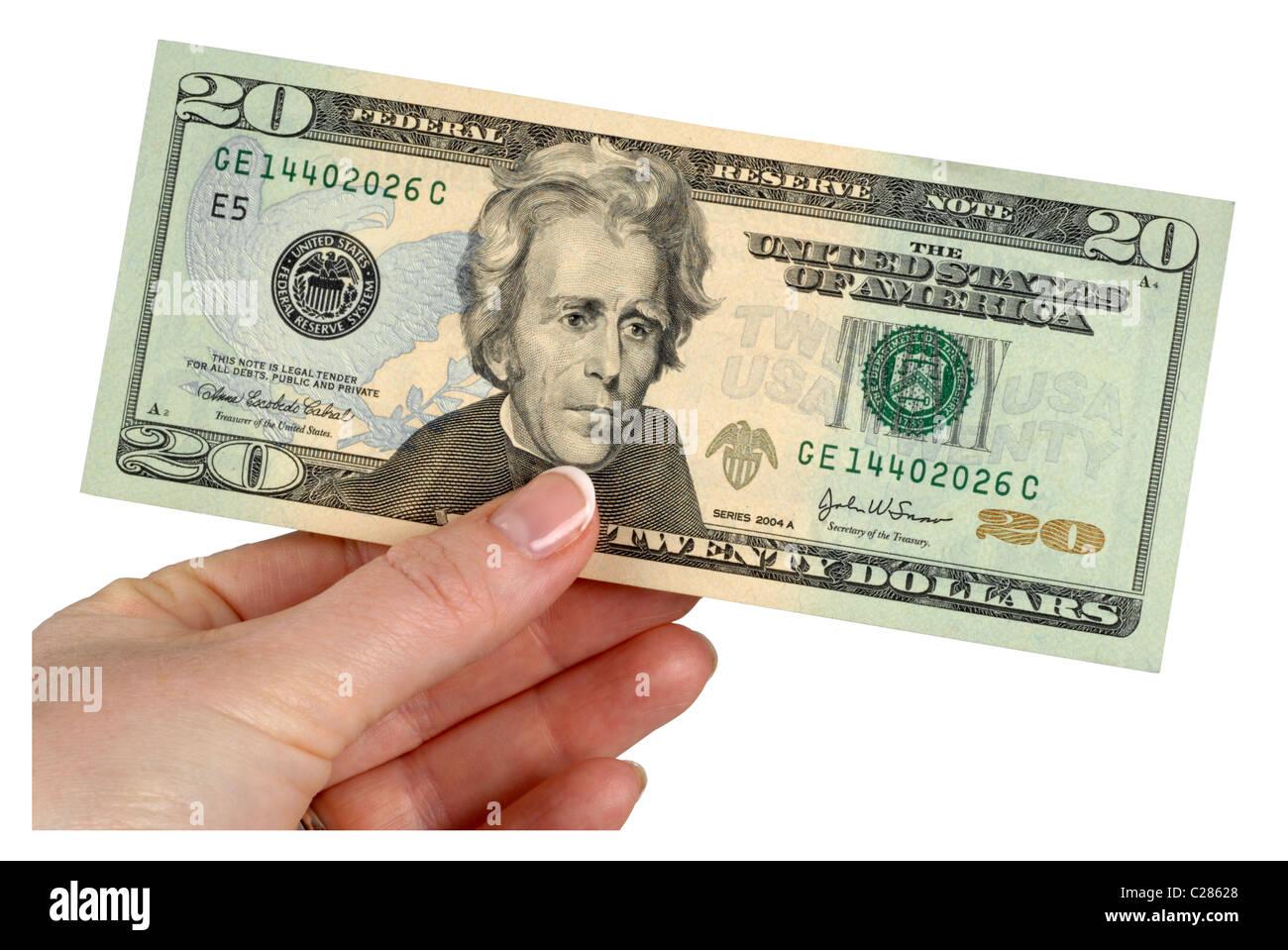 20 Dollar Note Dollars Money American Banknotes Stock