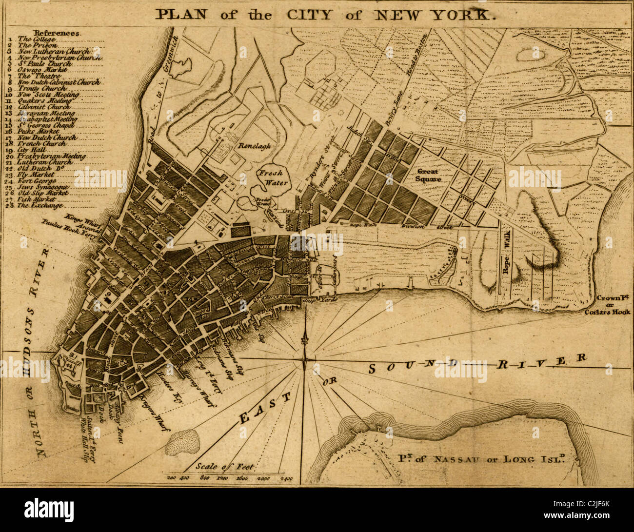 Map With Streets Stock Photos   Map With Streets Stock Images   Alamy New York City map shows streets  wharves  ferries  principal buildings  and  built