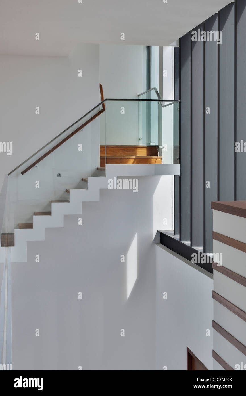 Modern Internal Staircase With Glass Balustrades Stock Photo Alamy | Glass Balustrade Internal Stairs | Pattern Glass | Glass Balustrading | Handrail | Cast Glass | Landing