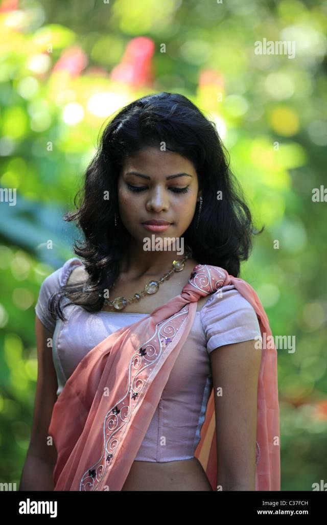 Sri Lankan Lady Posing In A Garden Sri Lanka Asia Stock Image