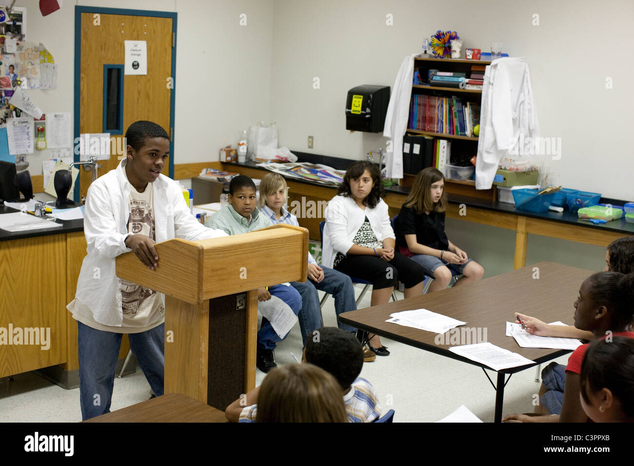 African American Boy Speaks In Front Of Students During