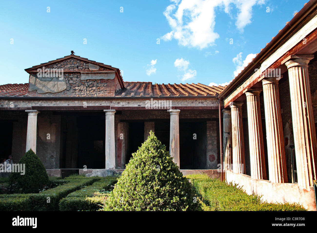 Interior Court Of An Ancient Roman House In Pompei Stock