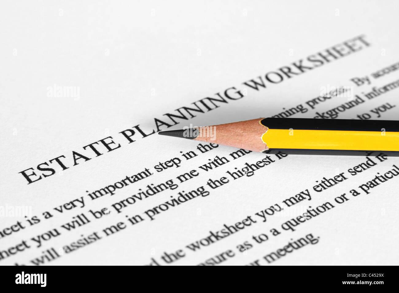 Estate Planning Worksheet Stock Photo Royalty Free Image