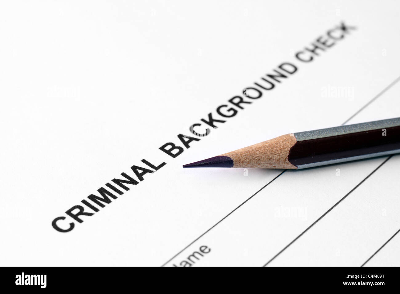 Criminal background check form Stock Photo  37318676   Alamy Criminal background check form