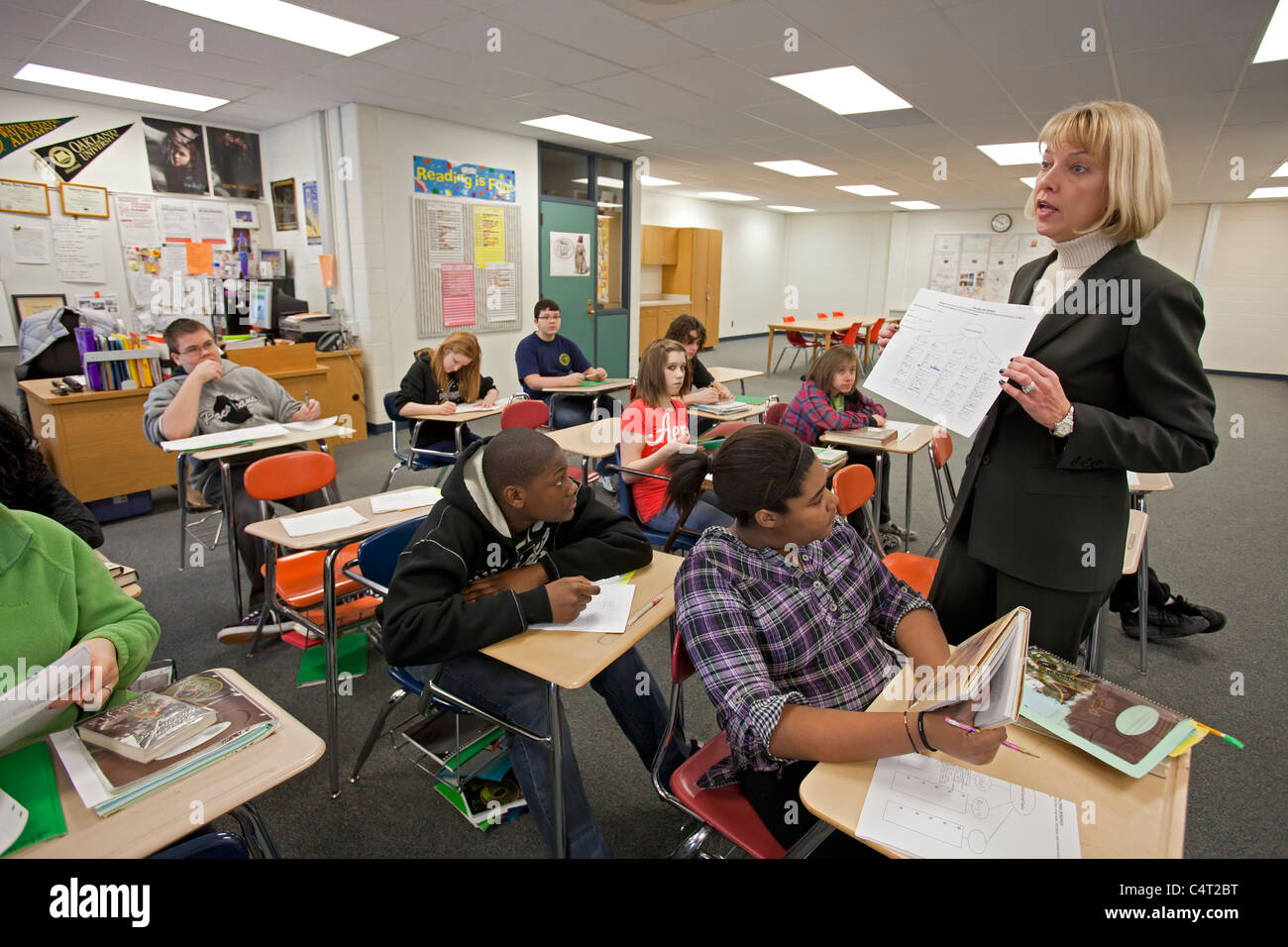 Eighth Grade Language Arts Classroom Stock Photo