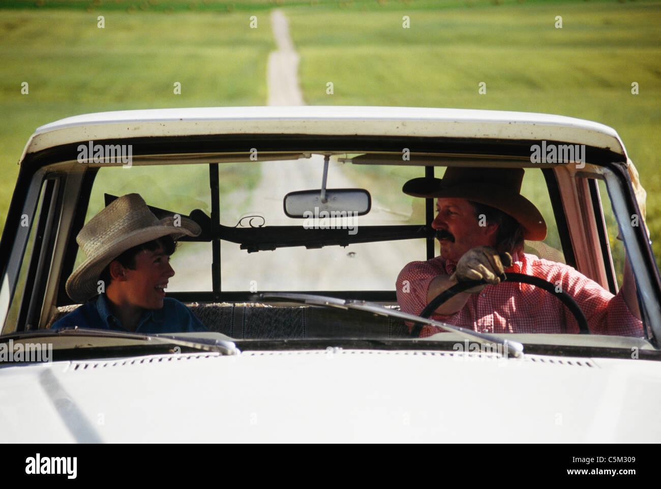 https www alamy com stock photo cowboy and son pickup truck and gun rack montana 37935417 html