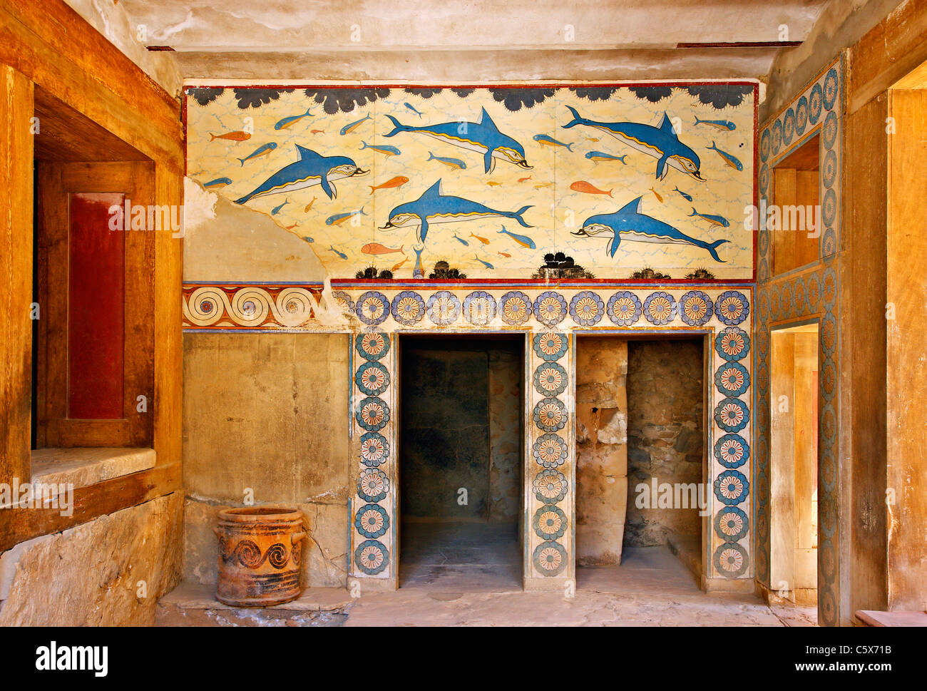 The Dolphins Fresco From The Queens Megaron At The Minoan