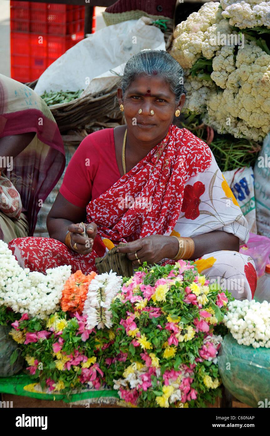 Flower Seller Fruit And Vegetable Market Tamil Nadu South
