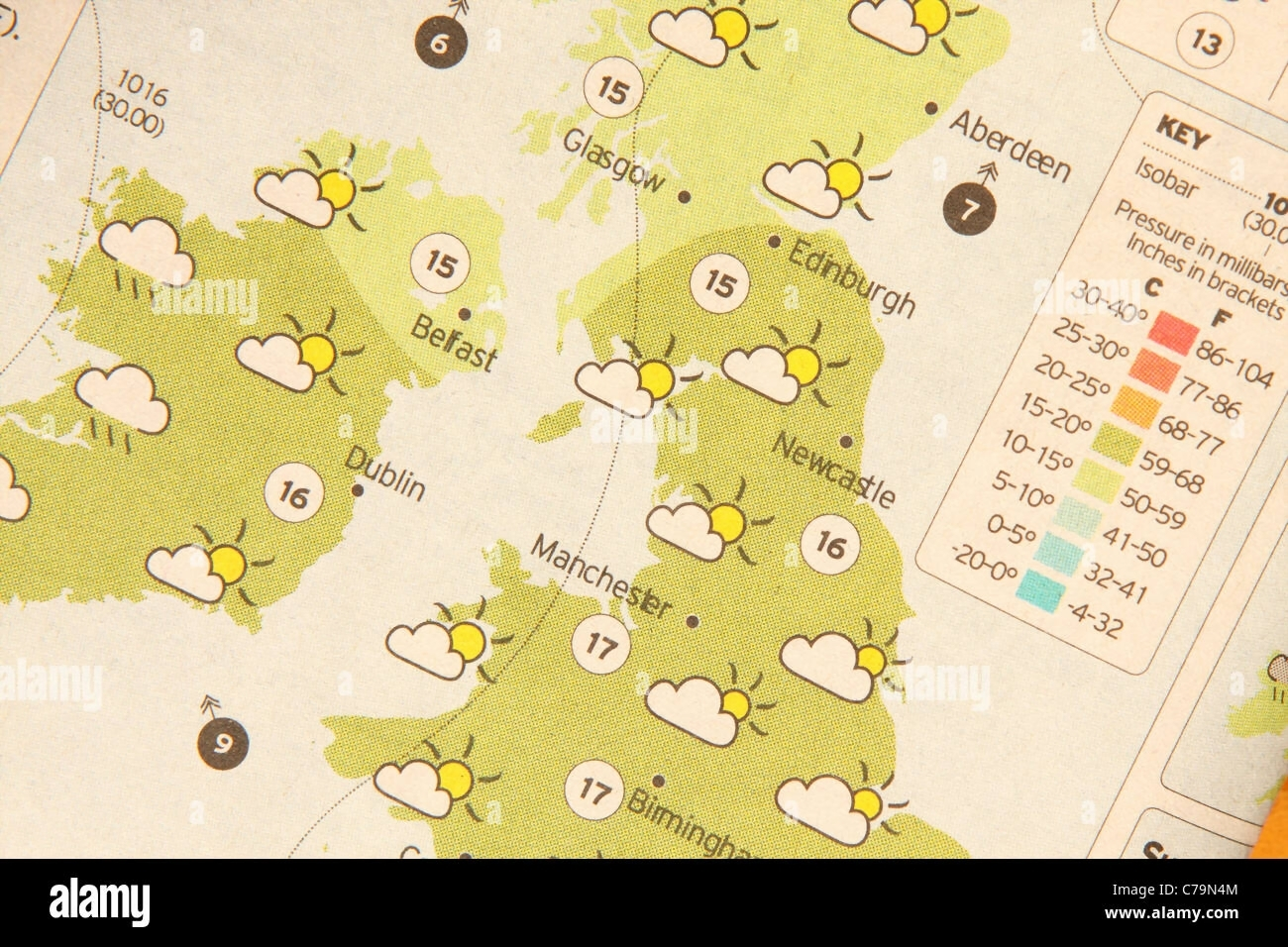 Weather Forecast Map Stock Photos   Weather Forecast Map Stock     Weather forecast map in a newspaper   Stock Image