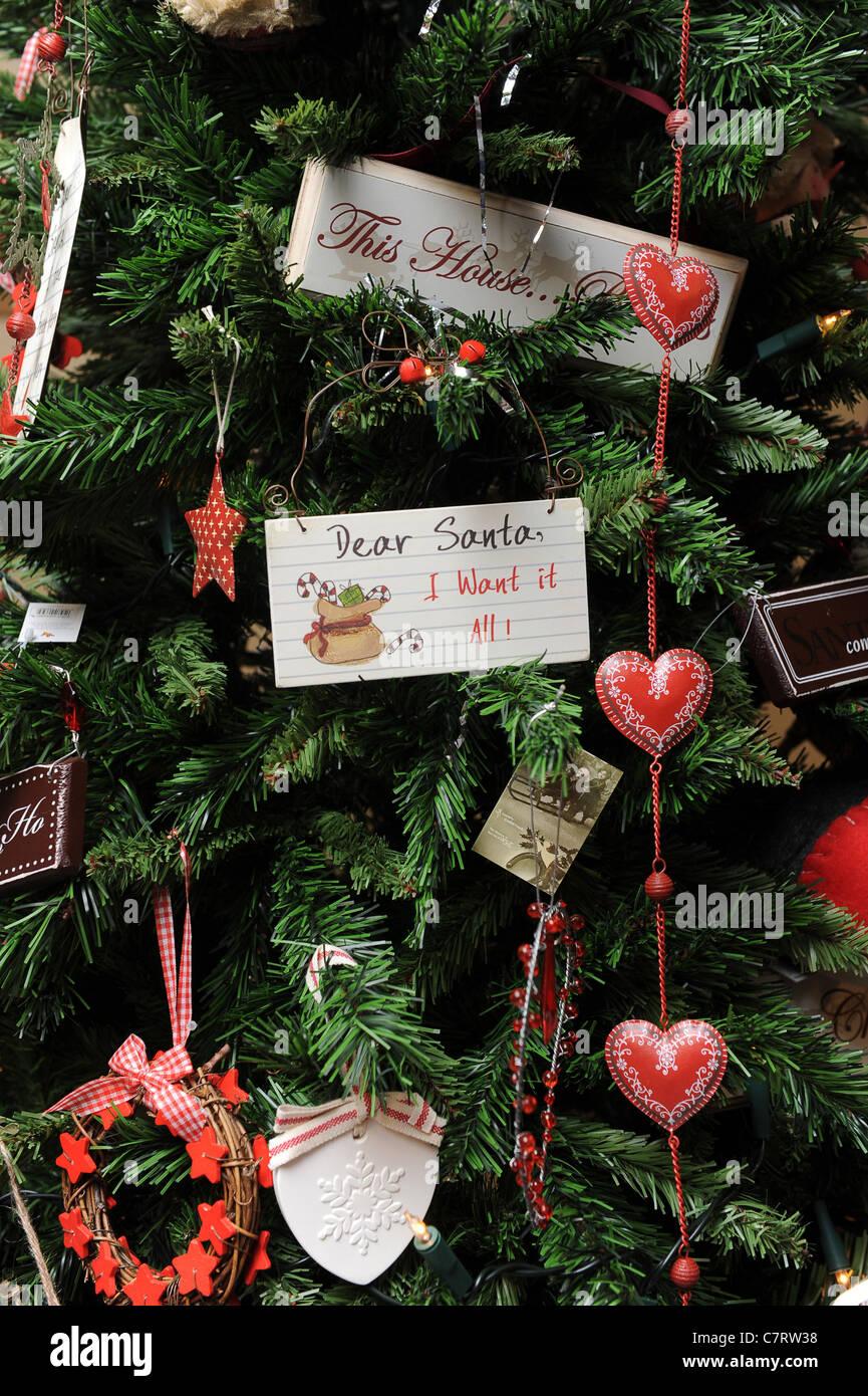 Message To Santa On Christmas Tree Uk Stock Photo