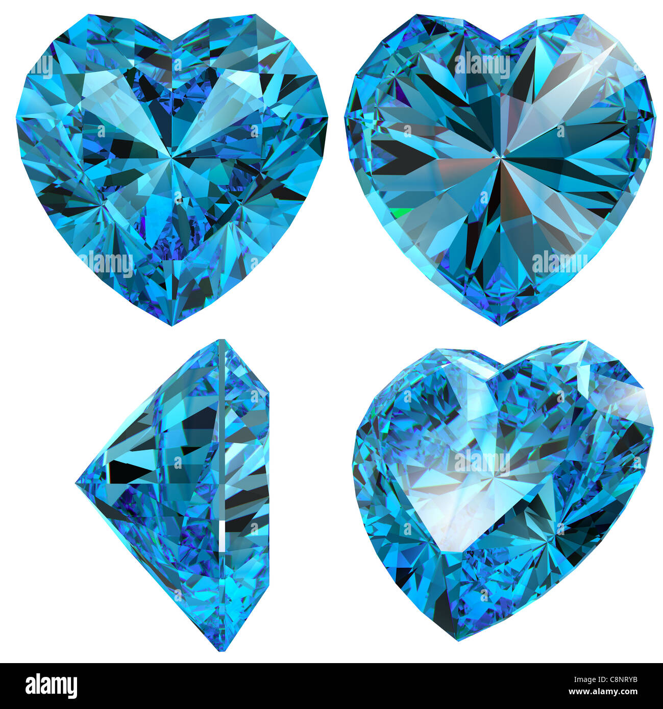 Blue Heart Diamond Cut Gem Isolated Different Views With