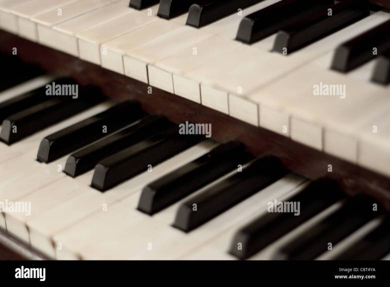 a pipe organs keyboard which is a religious instrument used in a