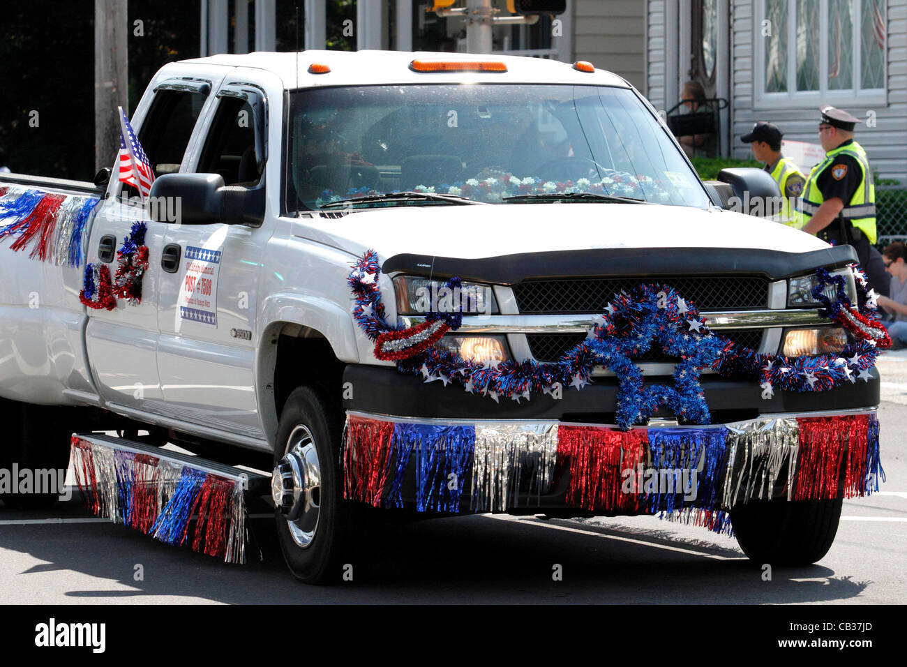 Pickup Truck Decorated In Red White And Blue Representing