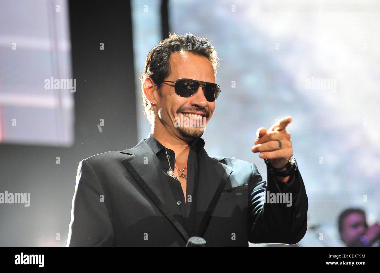 Sept 16 2011 Miami Fl U S Singer Marc Anthony Acknowledges The Audience As They Sing Happy Birthday During His Concert At The American Airlines Arena In Miami Florida Friday Night