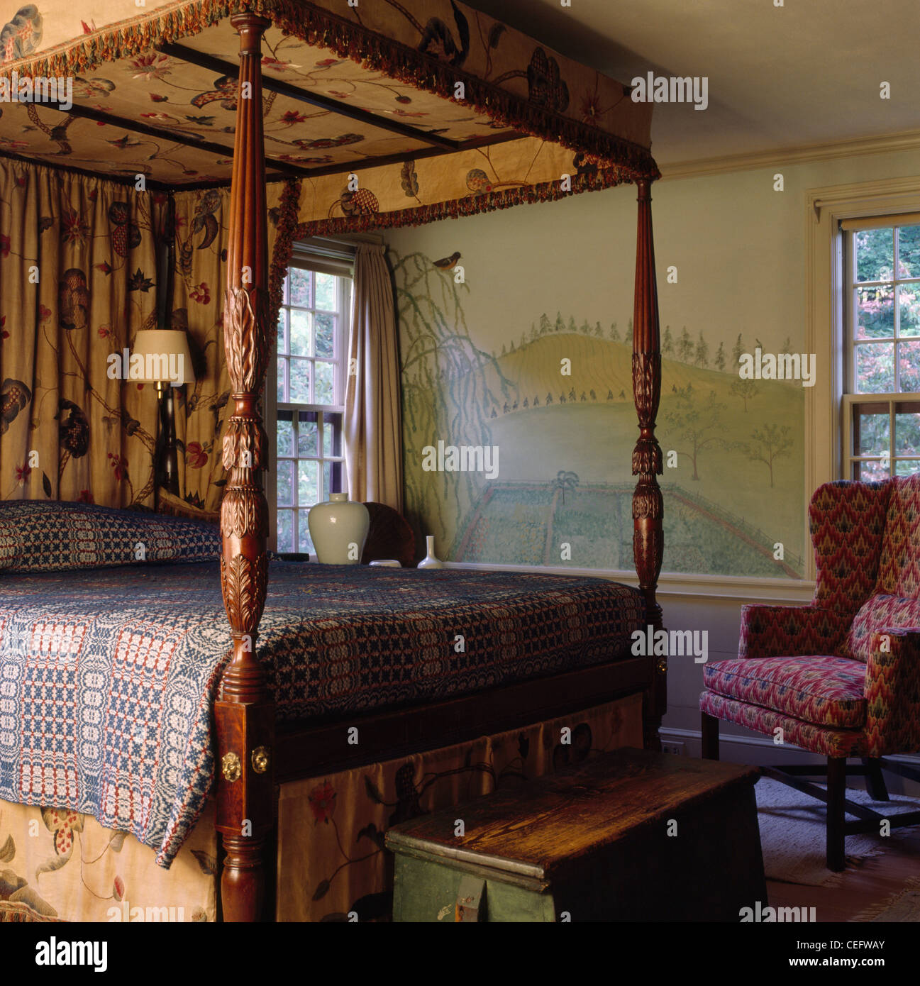 https www alamy com stock photo woven wool blanket on antique four poster bed in country bedroom with 43375107 html