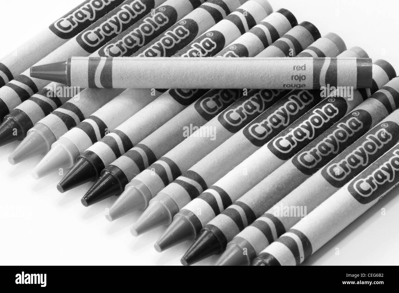 Red Crayon In Black And White Crayola Brand Crayons Stock