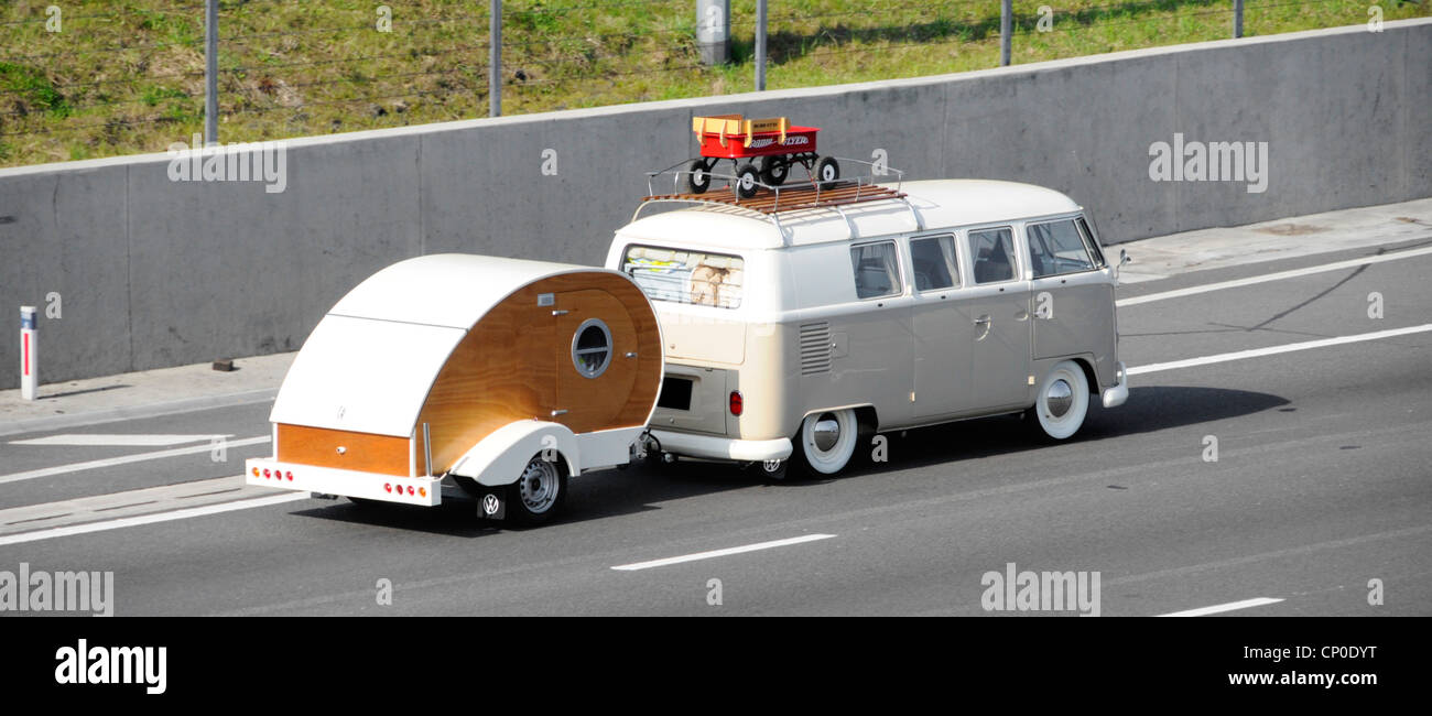 https www alamy com stock photo unusual vw rv campervan motorhome with roof rack towing teardrop micro 47954140 html