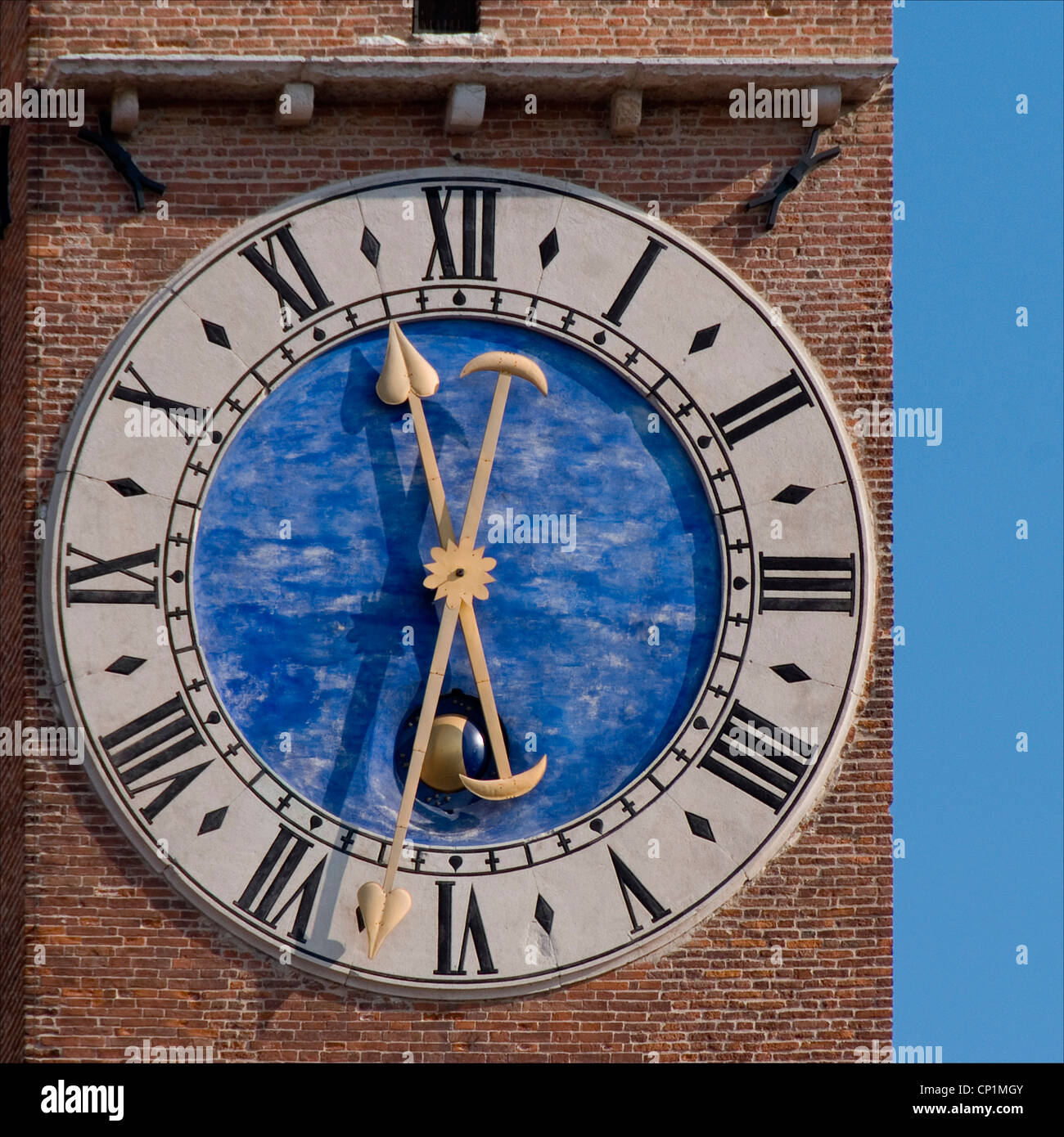 Clock Face With Roman Numerals On Brick Exterior Venice Italy Stock Photo Royalty Free Image