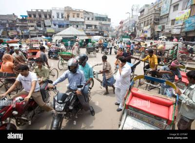 Daily life street scene in Old Delhi, India Stock Photo ...