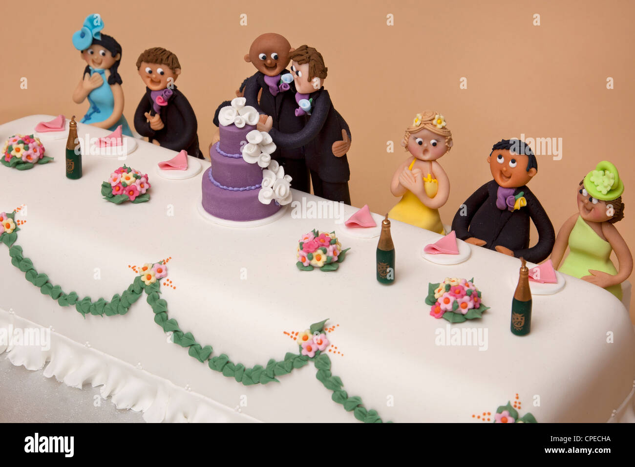 Gay Wedding Cake Stock Photos   Gay Wedding Cake Stock Images   Alamy top table wedding cake of gay couples marriage   Stock Image