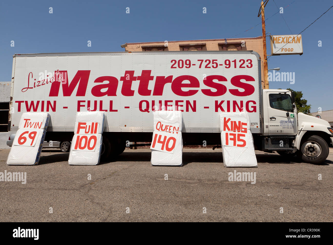 Mattress Sale Stock Photos   Mattress Sale Stock Images   Alamy Mattress sale ad on truck   Stock Image