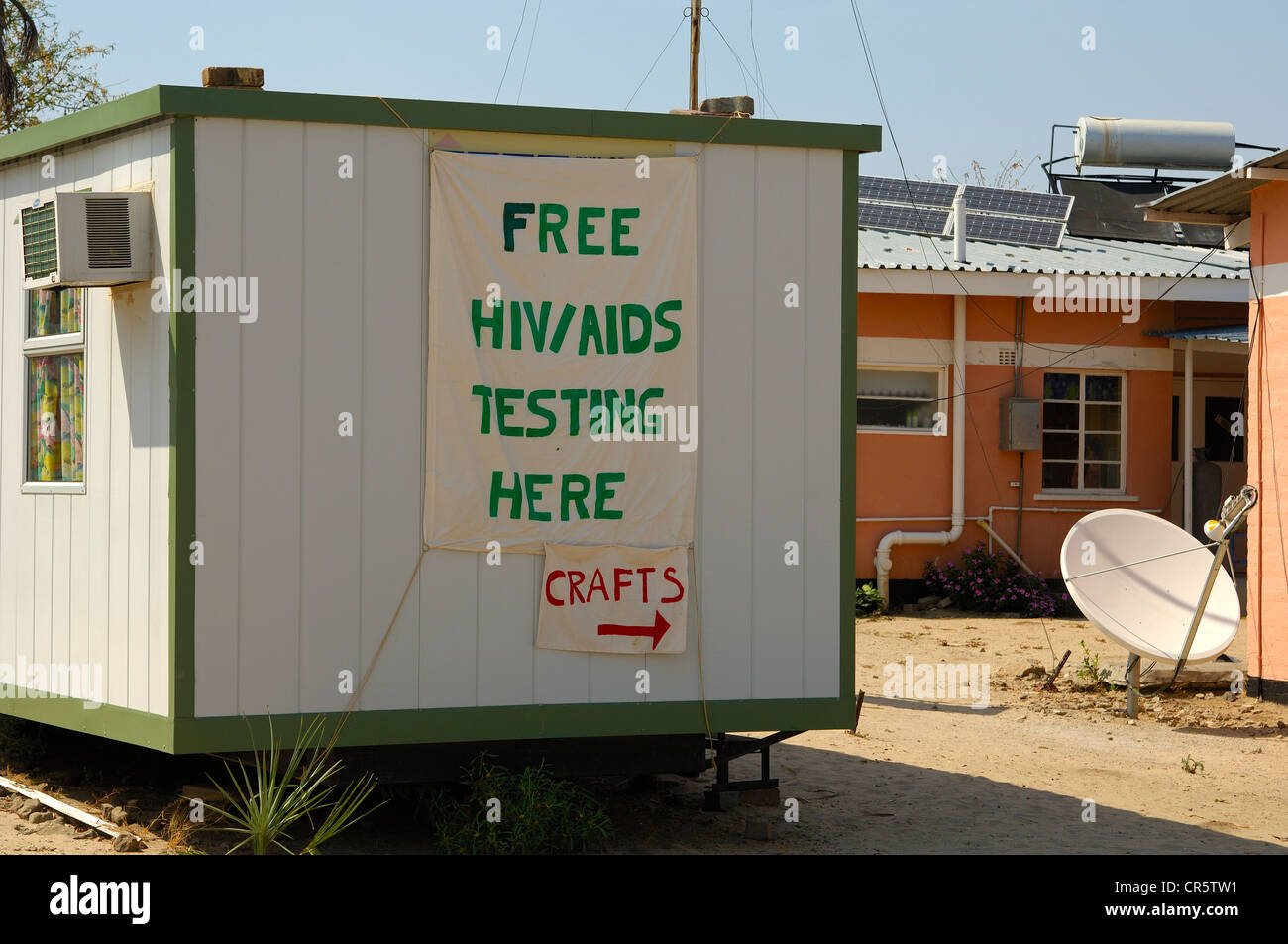 Free Hiv Testing Offered At A Rural Aids Clinic In A Hut Kachikau Stock Photo