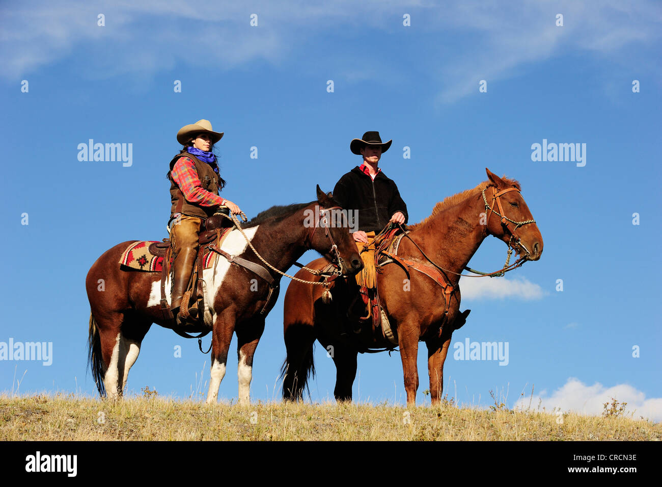 Cowgirl And Cowboy On Horses Looking Into The Distance