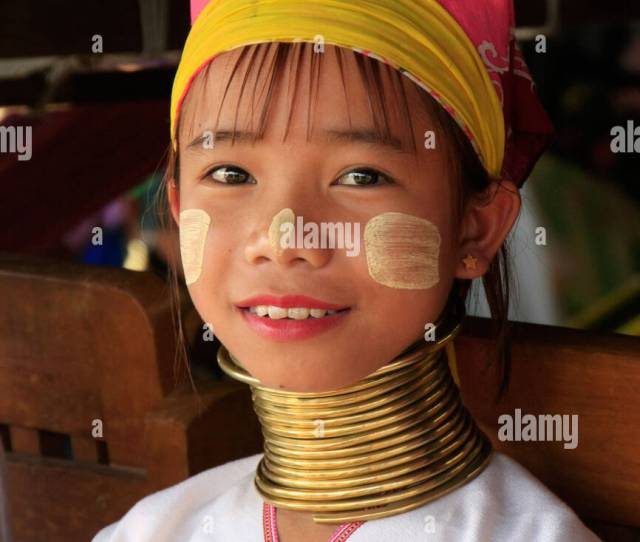 Portrait Of Young Long Necked Girl From Padaung Tribe Inle Lake Shan State Myanmar Southeast Asia