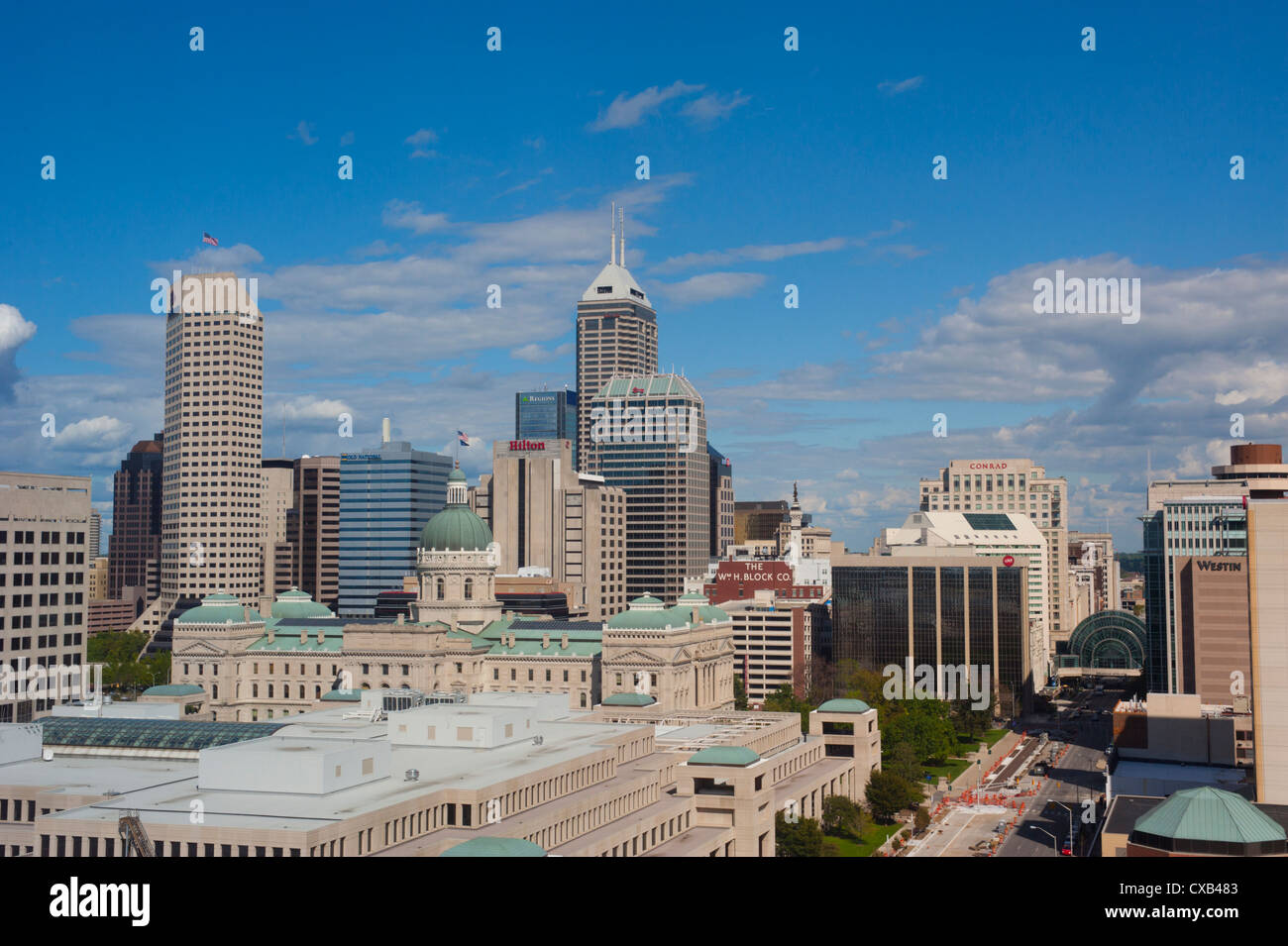 Usa Indiana Indianapolis In Skyline Of The State Capital