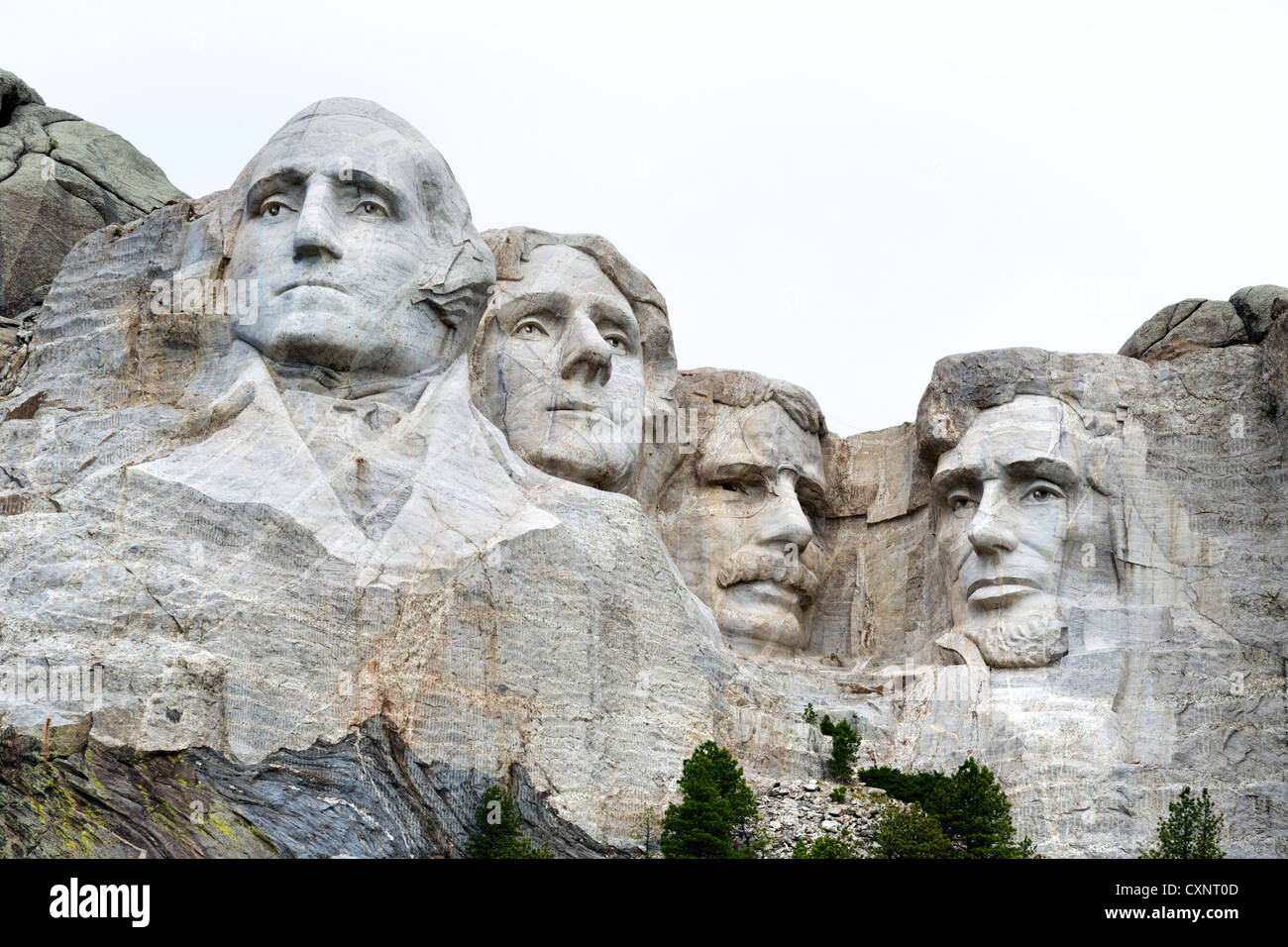 Faces Of The Four Presidents At Mount Rushmore National