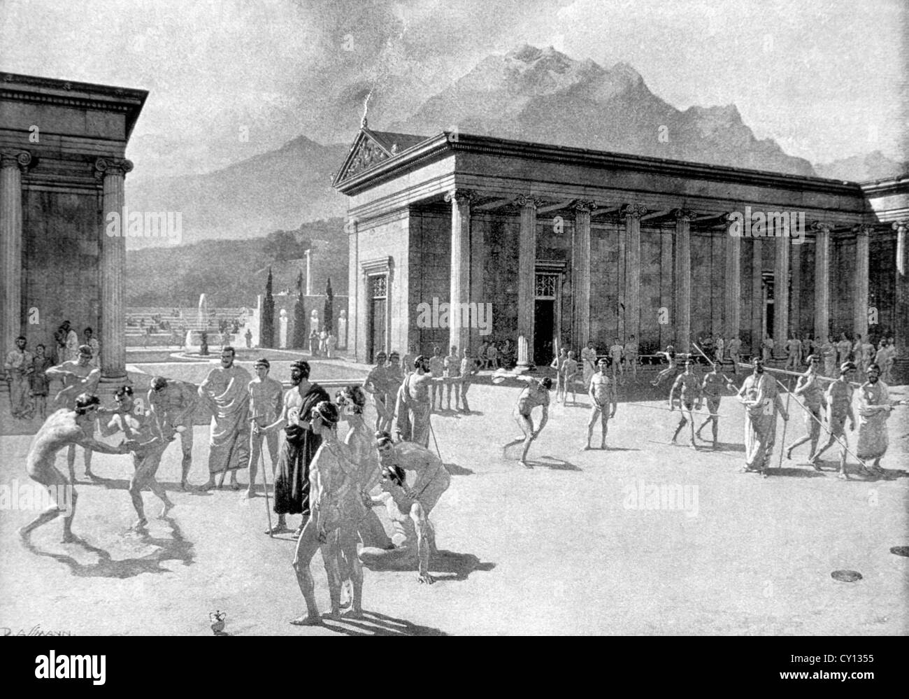 Greek Gymnasium At The Time Of The First Olympic Games