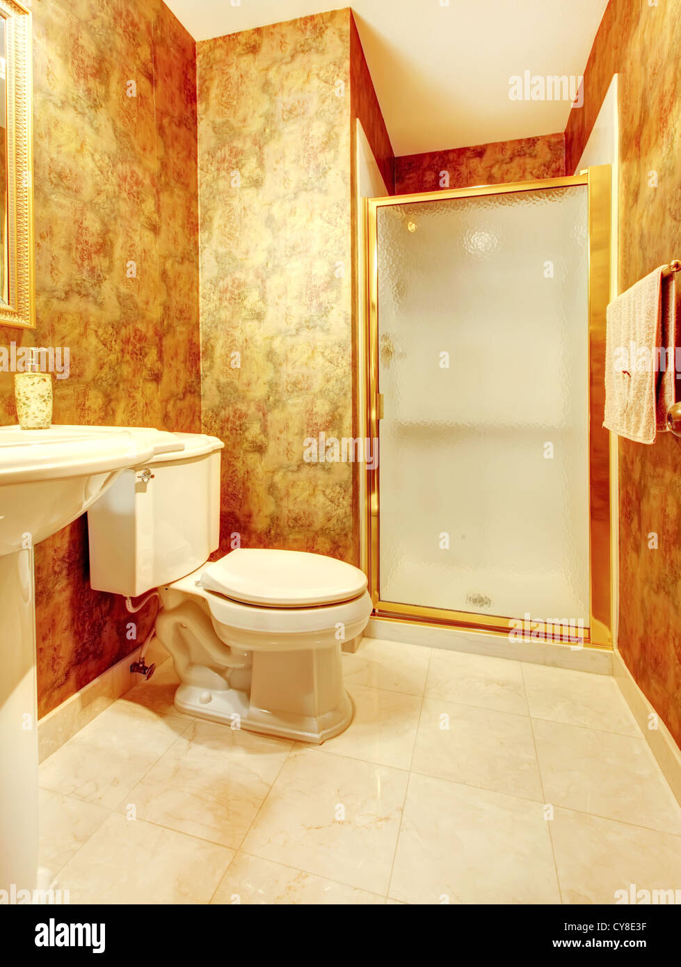 https www alamy com stock photo golden antique bathroom with shower and marble tiles 51203139 html