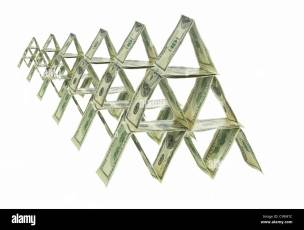 Six pyramids made out of one hundred dollar bills