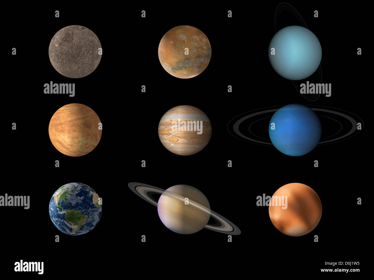 Digital Illustration Of The Nine Planets Of Our Solar