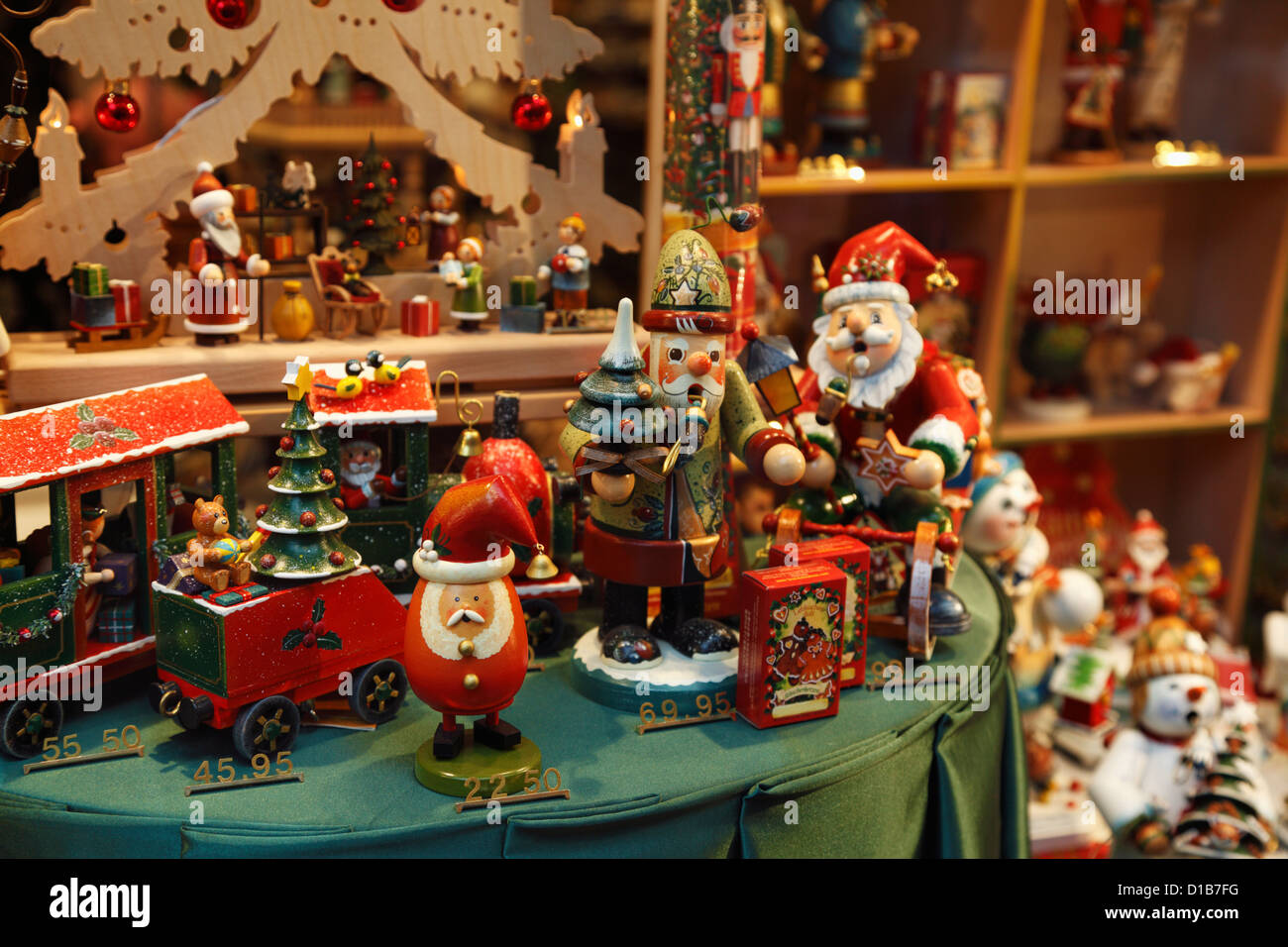 Christmas Toys And Decorations In A Store Window Display