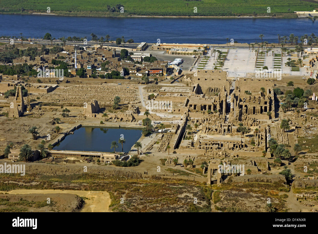Egypt Luxor Karnak Temple Nile River Valley From The Air West Bank Stock Photo