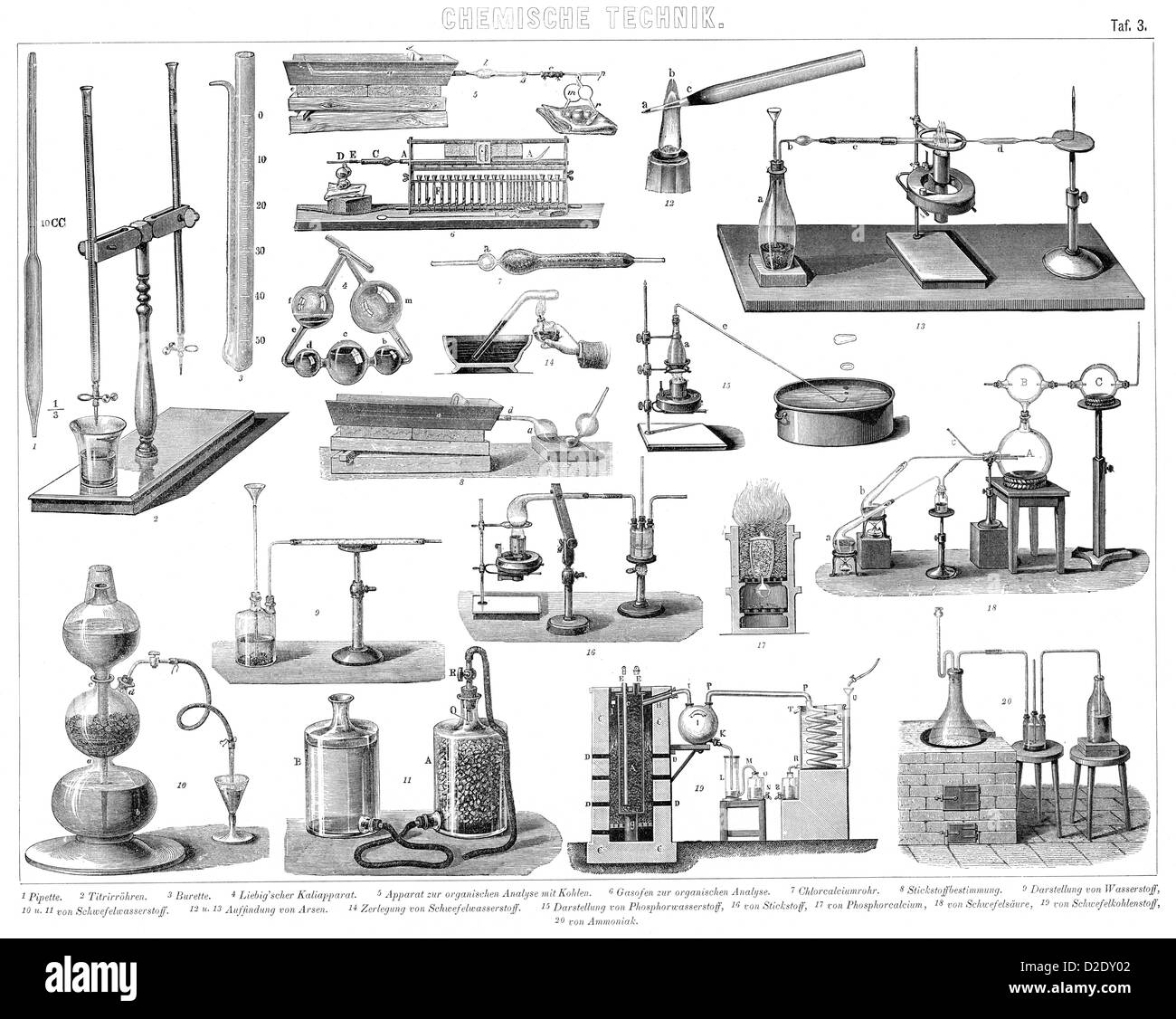 Vintage Chemistry Equipment From The 19th Century Stock