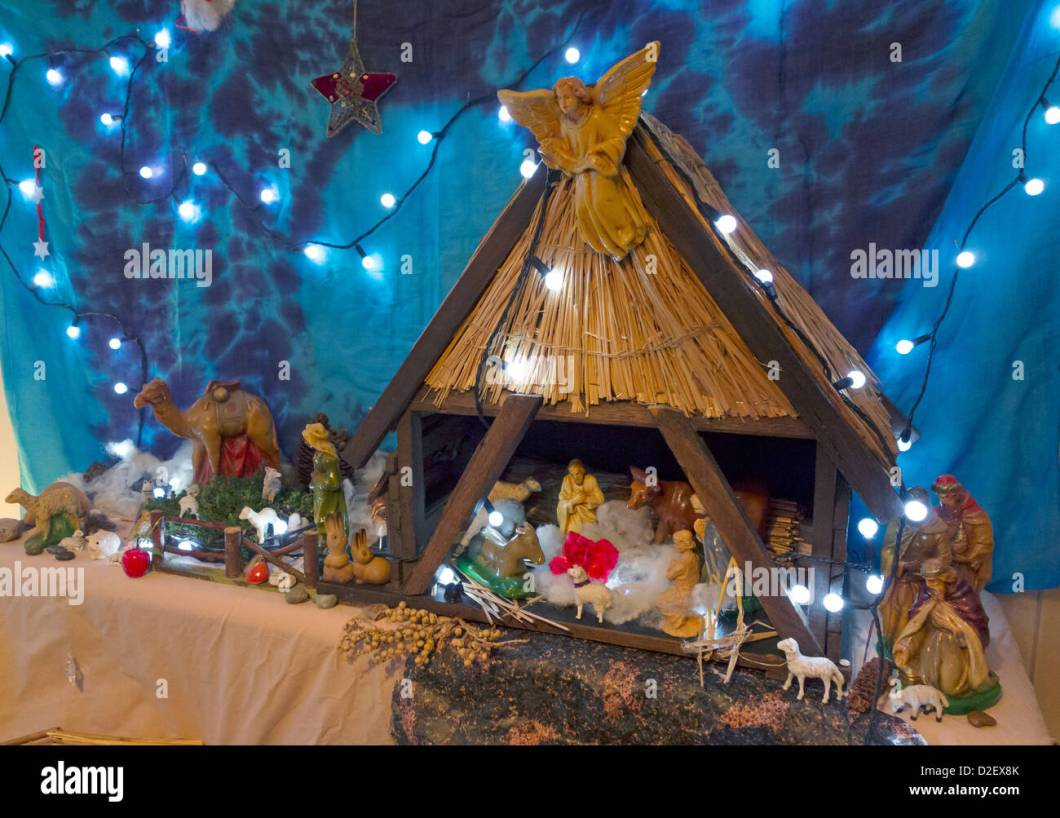 A Domestic Christmas Crib Nativity Scene With Multiple Characters Stock Image