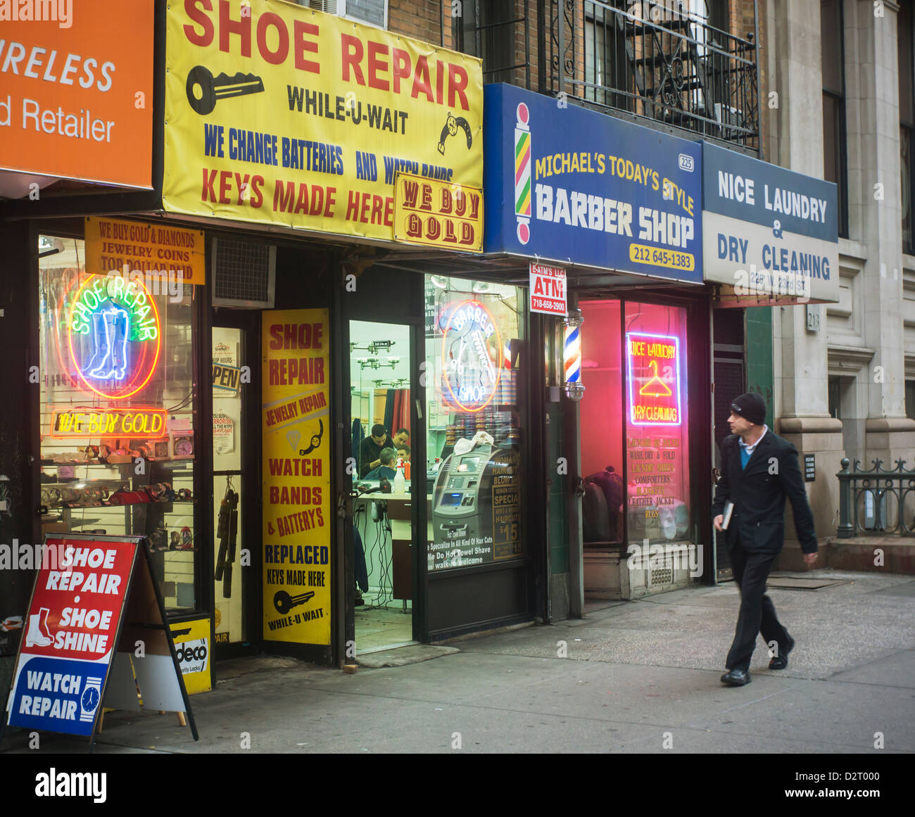 Mom and Pop small businesses  a shoe repair  a barber and a laundry     Mom and Pop small businesses  a shoe repair  a barber and a laundry  in the  New York neighborhood of Chelsea