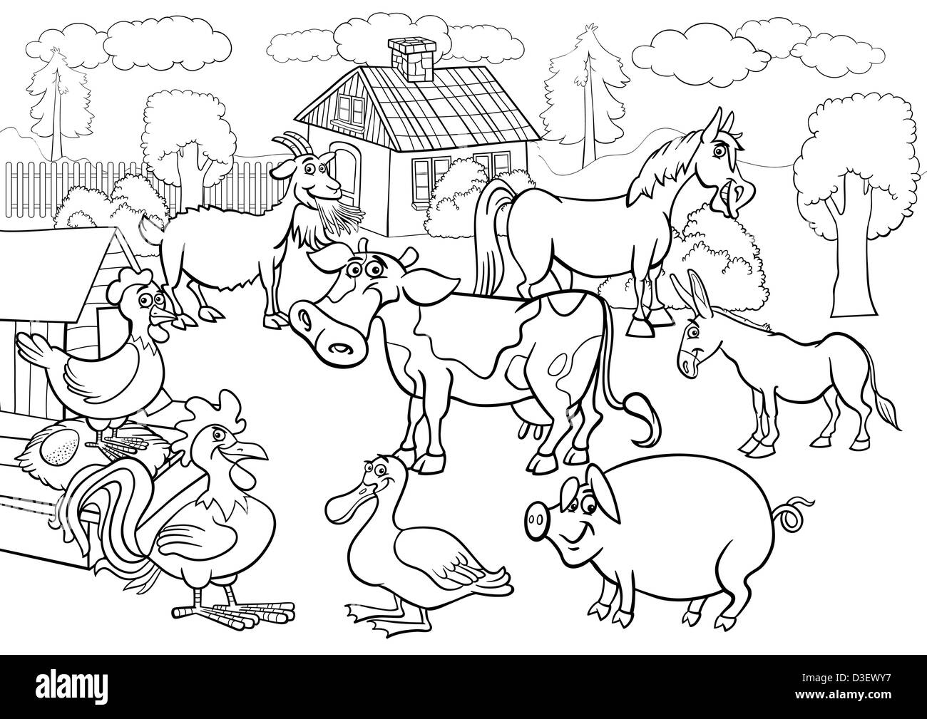 Black And White Cartoon Illustration Of Rural Scene With